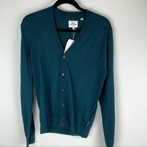 Ben Sherman 100% Merino Wool Teal Cardigan size Small NWT
